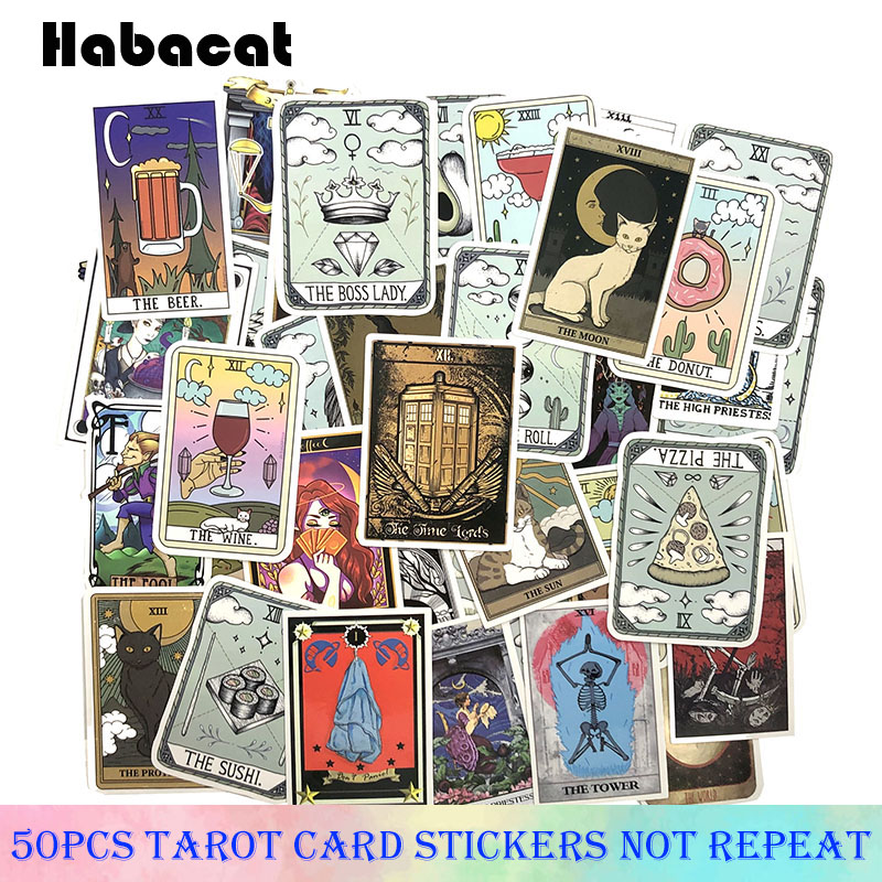 50Pcs/pack Tarot Card Graffiti Stickers Cartoon Stickers For Motorcycle Skateboards Laptop Luggage Stickers