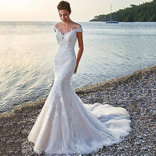 Mermaid Wedding Dresses Button Back 2020 Off The Shoulder Tulle marriage Appliques robe de mariee Bridal Gowns