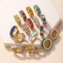 26 cores 14 cz k arco-íris anillos anéis de ouro para as mulheres moda strass luxo zircão anel 2021 atacado jóias acessórios