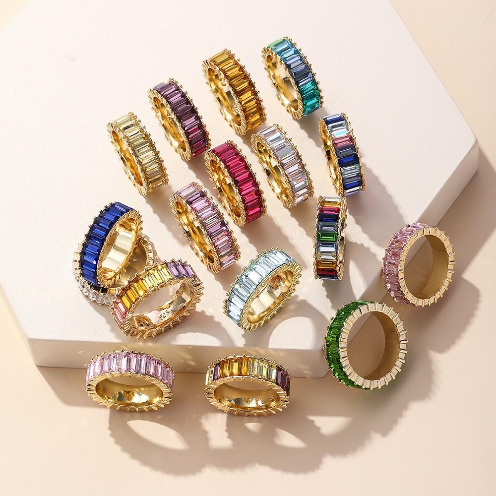 2021 Новинка 26 Цвета Радуга Кольцо из белого золота модные женские кольца с настоящими Австрийскими кристаллами Роскошная 14 Cz K циркона оптов...