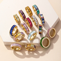 2021 новые радужные кольца Золотое модное кольцо с кристаллами для женщин Свадебные 26 цветов Роскошные Cz оптовая продажа ювелирных изделий А...