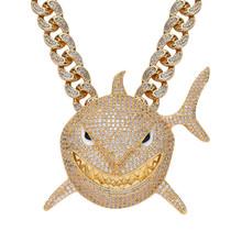 Męski hip-hopowy kryształ 6IX9INE Shark naszyjnik z 13mm Iced Out pełny Rhienstone Miami kubański łańcuch Chokers tanie tanio JIAMEN Ze stopu cynku Mężczyźni Wisiorek naszyjniki CN (pochodzenie) Hiphop Rock Link łańcucha Cyrkonia Zwierząt Party