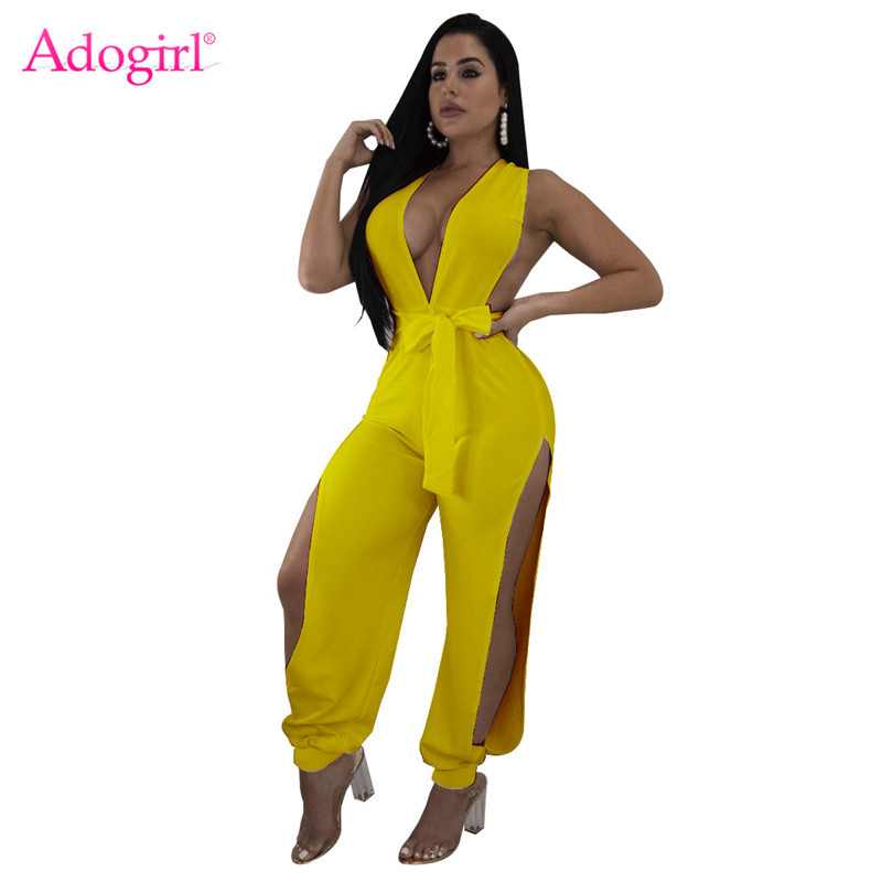 Adogirl Women Solid Yellow Summer Jumpsuit Sexy Deep V Neck Sleeveless Casual Romper Side Slit Pants Fashion Overalls