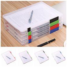 Прозрачная коробка для хранения формата А4, прозрачный пластиковый чехол для бумаги для документов, портативный держатель для хранения