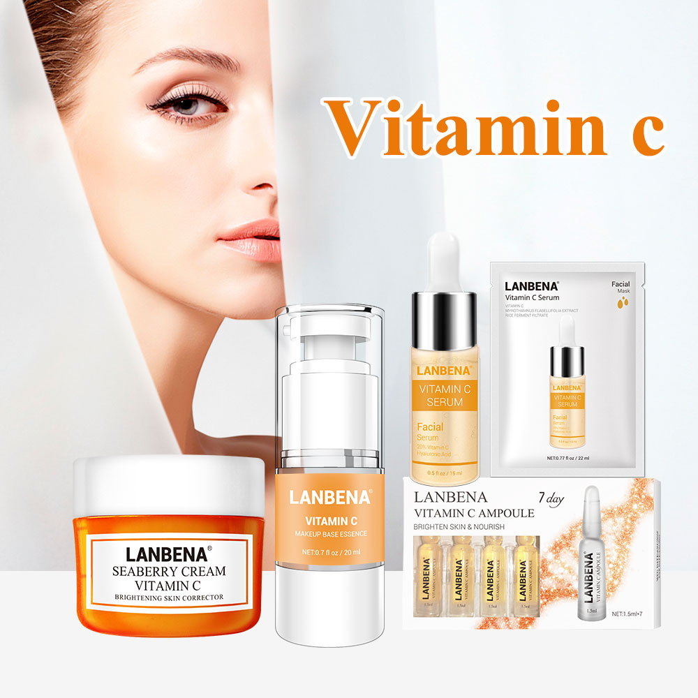 LANBENA Skin Care Vitamin C Series Face Mask 25ml Whitening Seaberry Facial Cream Makeup Base Primer Serum 7 Day Ampoule Essence