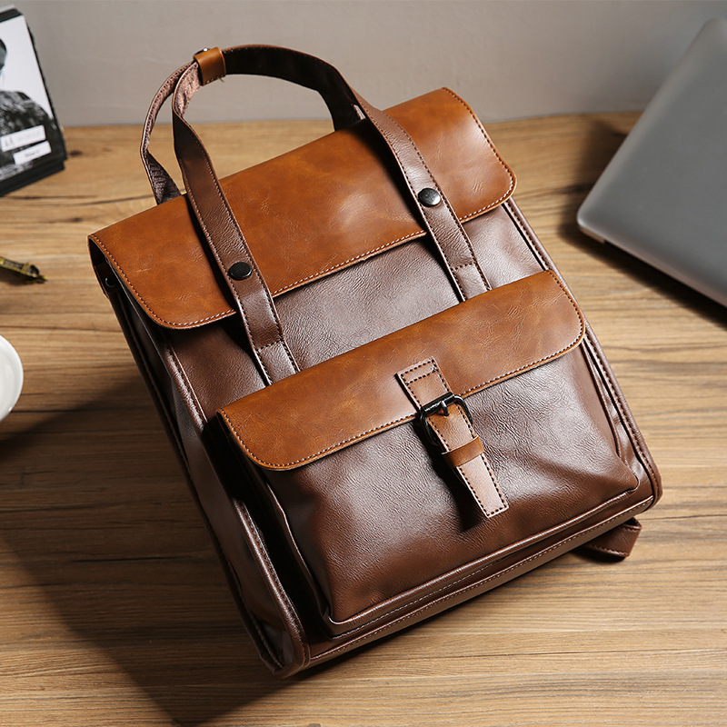 Retro leather shoulder bag European and American fashion backpack trend male student schoolbag handbag