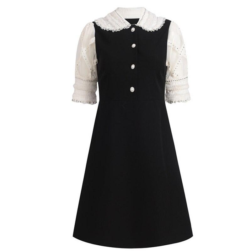 Haute qualité dernière mode 2020 concepteur piste robe femmes col claudine manches bouffantes dentelle diamants robe perlée
