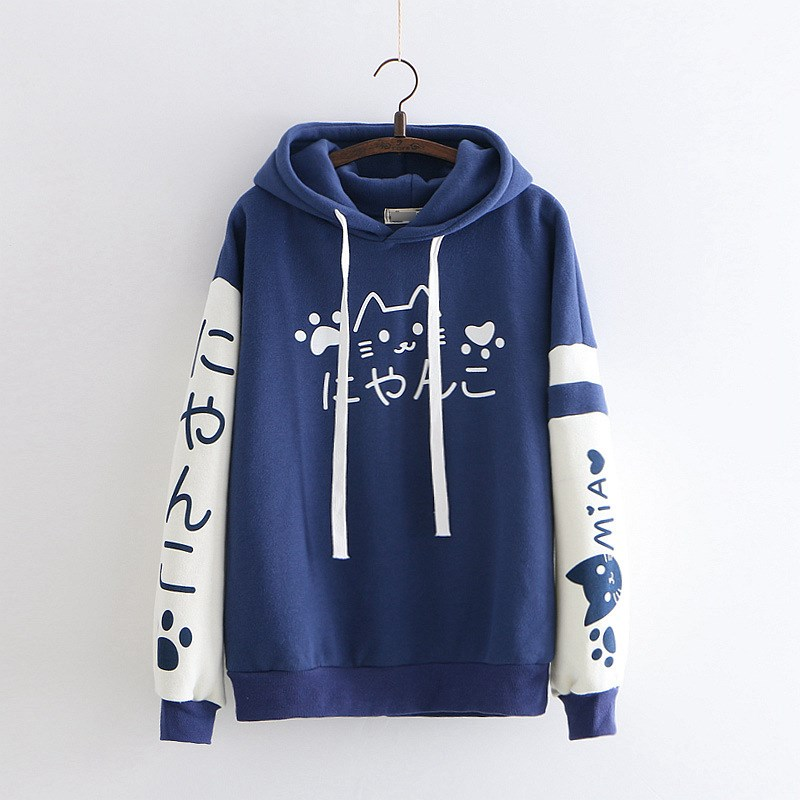 2019 Fall Winter Women Japanese Long Sleeve Patch Velvet Hooded Hoodies Solid Harajuku Cute Cartoon Cat Sweatshirts