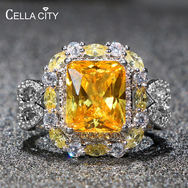 Cellacity Geometry Silver 925 Rings For Women Fine Jewelry With Color Gemstones Citrine Pink Crystal Female Anniversary Ring