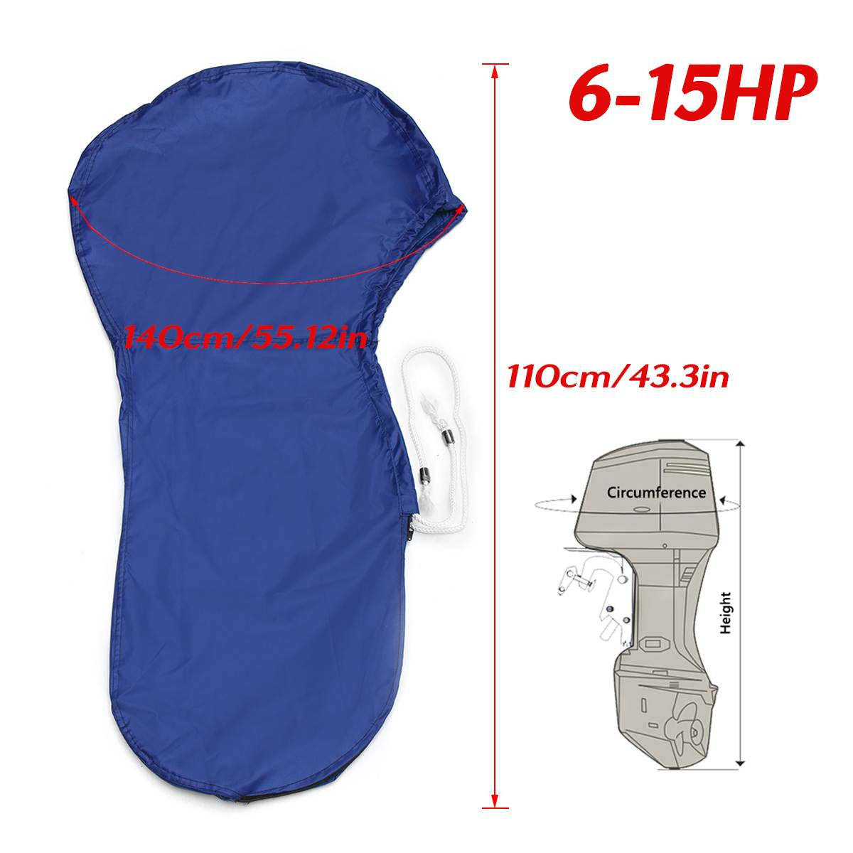 420D 6-15HP Boat Full Outboard Engine Motor Cover Protector Blue For 6-15HP Motor Waterproof