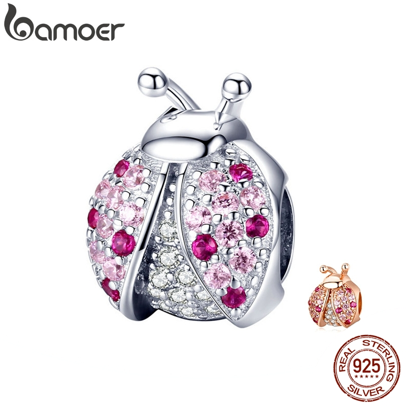 BAMOER New Arrival 925 Sterling Silver Ladybug Pink Cubic Zircon Insect Charms Beads Fit For Bracelets DIY Jewelry SCC1120