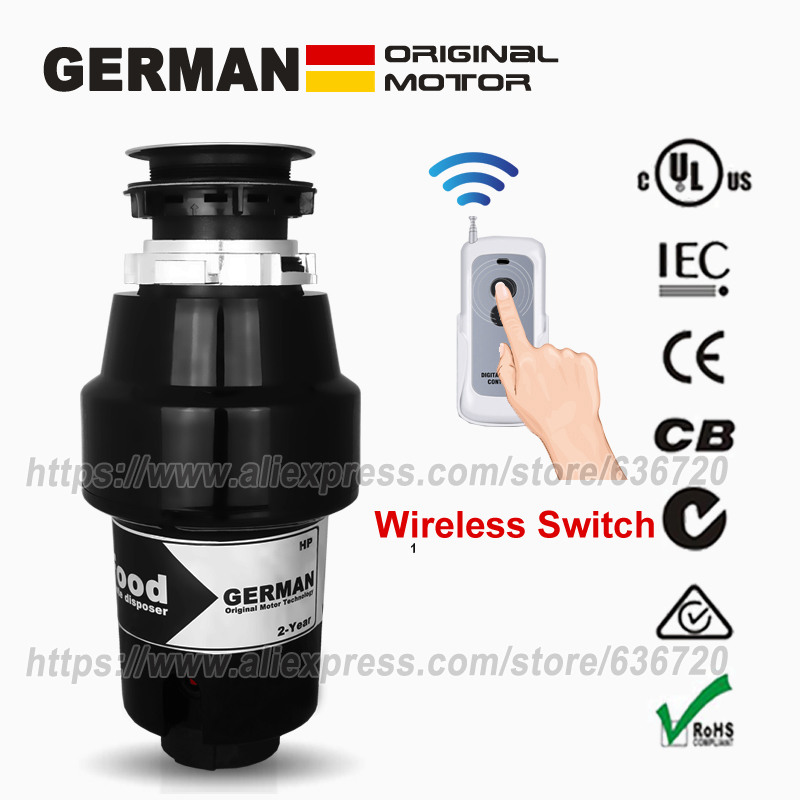76336A German 1000W motor Technology 1 Horsepower Deluxe Continuous Feed Disposall Food Waste Disposer Air Switch