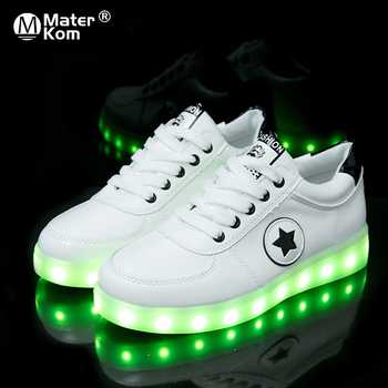 Size 30-44 Kids Luminous Sneakers for Girls Boys Women Shoes with Light LED Sole Glowing