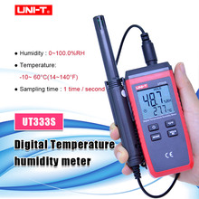 UNI T UT333S درجة حرارة صغيرة مقياس الرطوبة غير مقياس حرارة تلامسي في الهواء الطلق الرطوبة الزائد إشارة LCD الخلفية