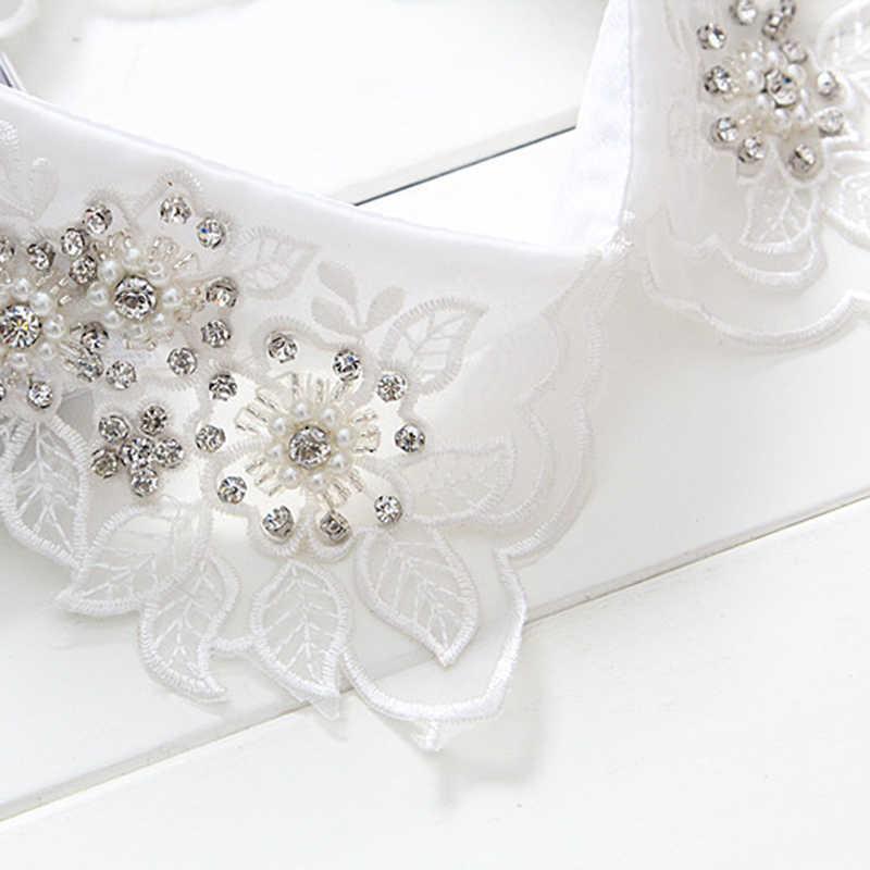 Белая жемчужная Модная рубашка с накладной кружевной воротничок, свитер с вышивкой, элегантные модные съемные воротники с цветами, один размер, corbata