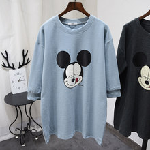 Cartoon Cotton Sweatshirt Dress Women 2020 Spring Solid Simple Loose Hoodie Outerwear Long Comfortable Home Pullovers Top(China)