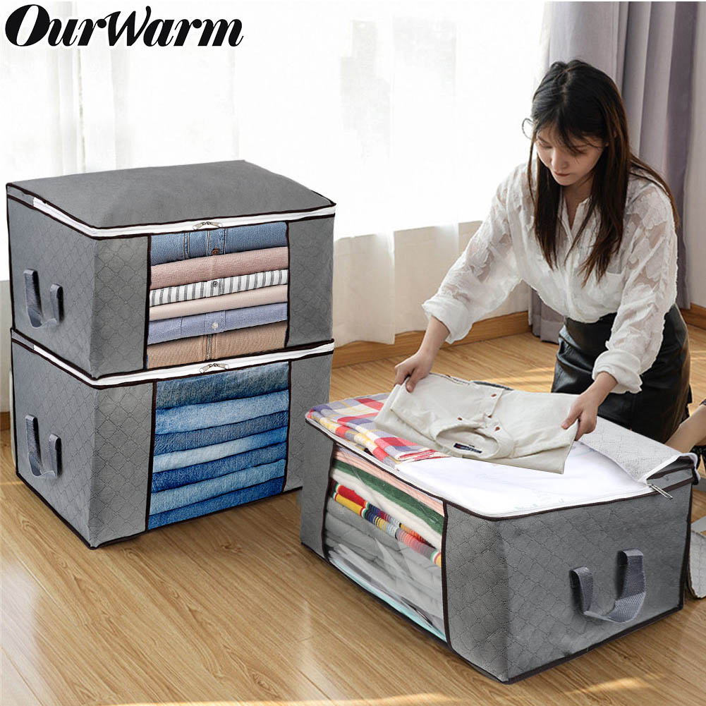 Non-Woven Fabric Clothing Storage Bag Foldable Waterproof Oxford Bag Storage Box Clear Window Zipper Case Clothes Organizer Hand