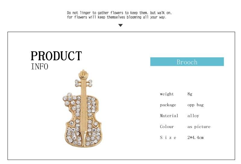 Crystal Rhinestone Violin Brooch Music Jewelry