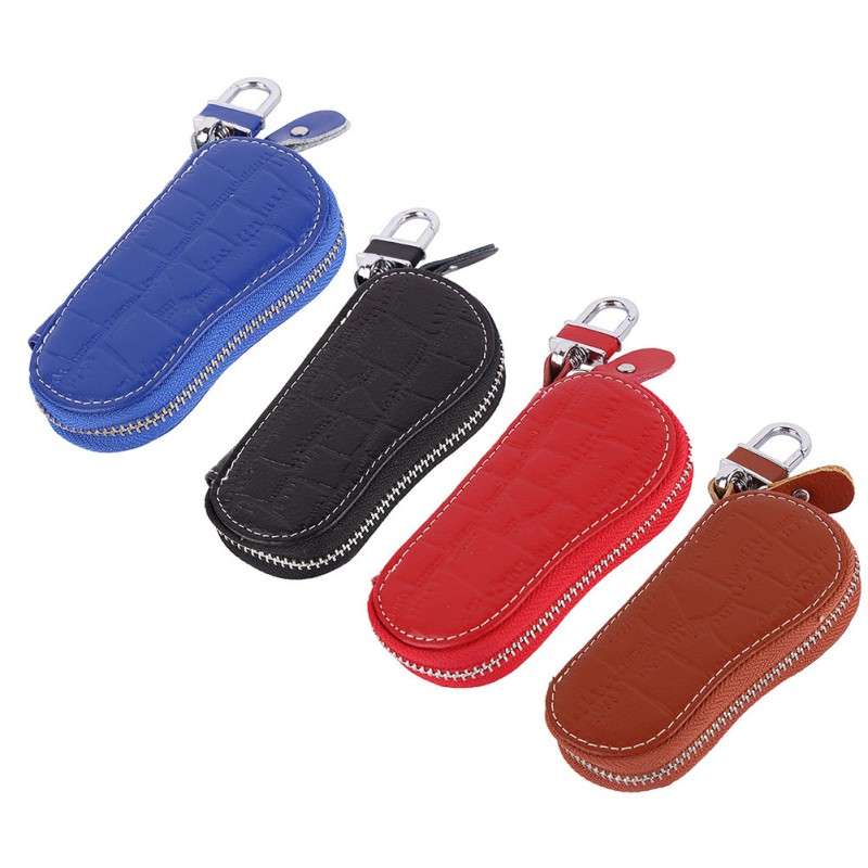 Otomobiller ve Motosikletler'ten Araba için Anahtar Kılıfı'de Araba tuşları tutucu organizatör kılıfı çanta kılıfı kadın anahtar cüzdan deri kahya fermuar title=