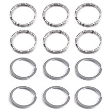 10 pçs/lote 28mm Liga Chave Fechos Embossing Cor Prata Keychain Da Corrente Chave Chave Dividida Anel Laço Hoop Acessórios(China)