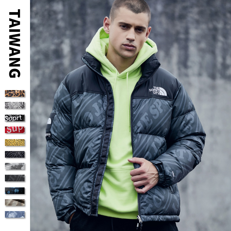 Men Coat Plus Size 3XL Stand Collar Parka Men Printed Letter Mens Winter Jacket Warm Casual Hip Hop Hooed Cotton Padded
