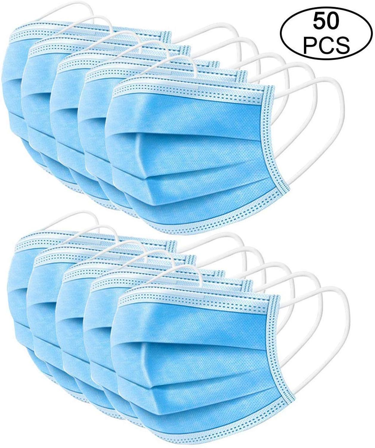 50pcs Face Mouth Anti Virus Mask Disposable Protect 3 Layers Filter Dustproof Earloop Non Woven Mouth Masks