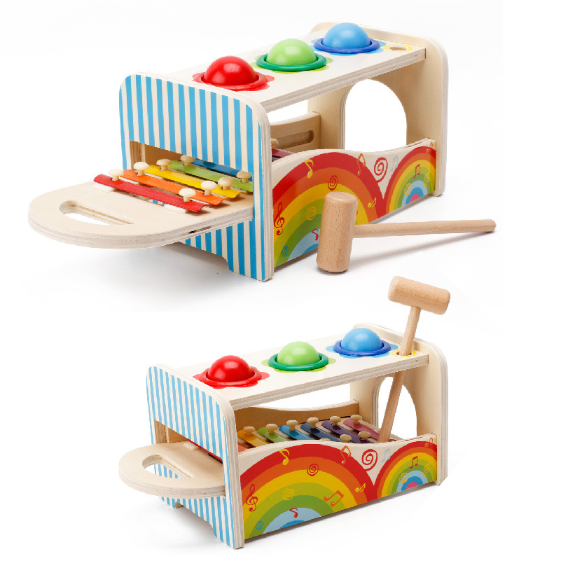 Children Wooden Toys Cartoon Multi-functional Xylophone Music Beat Piling Toys Kids Early Educational Musical Toys Montessori