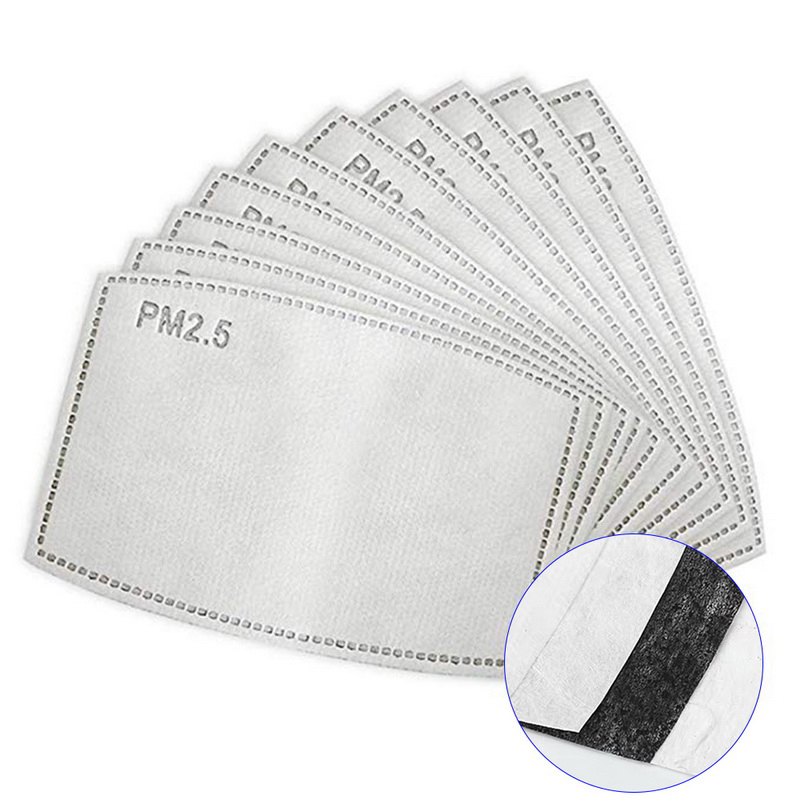 CALOFE 20Pcs/Set  2.5 Anti Haze Mouth Mask Replaceable Filter-slice 5 Layers Non-woven Adult Activated Carbon Filter