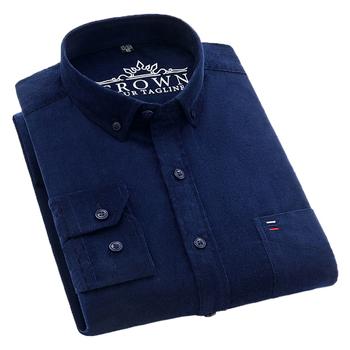 AOLIWEN mężczyźni 100 bawełna sztruks dorywczo granatowy z długim rękawem koszula wiosna jesień trendy wygodne łatwy w pielęgnacji tkaniny wąskie koszule tanie i dobre opinie CN (pochodzenie) COTTON KOSZULE CODZIENNE Pełne 1LLK-SC-DXR Flanelowy Wykładany kołnierzyk Na co dzień Jednorzędowe