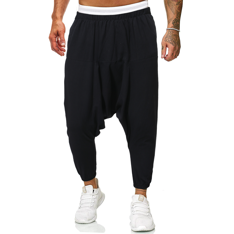 2020 Men Linen Cross-Pants Mens Baggy Harem Pants Men Solid Black Trousers Male HipHop Joggers Man Streetwear Wide Legs Pants
