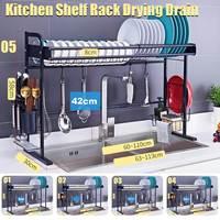 Estante de secado de vajilla sobre el fregadero, escurridor para Almacenamiento de suministros de cocina, organizador de mostrador, soporte de utensilios, de acero inoxidable, 60-110cm