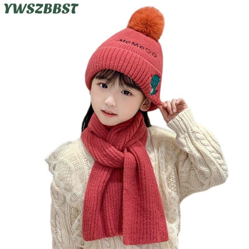 Новая мода осень зима динозавров шапка шарф мальчиков девочек кепка детская теплая шарф вязаный шерсть