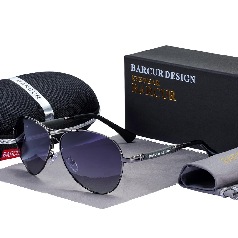 BARCUR Design Titanium Alloy Sunglasses Polarized Men's Sun Glasses Women Pilot Gradient Eyewear Mirror Shades Oculos De Sol 8