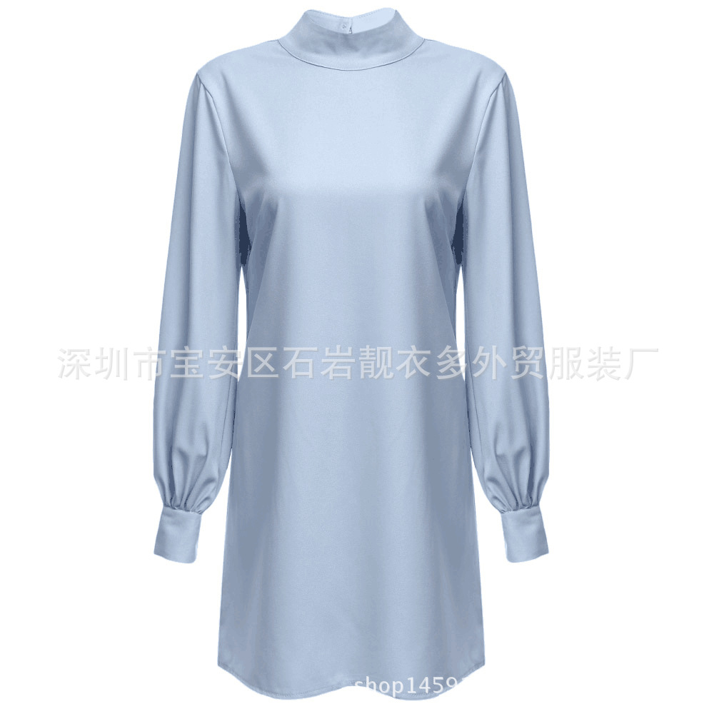 Europe And America <font><b>AliExpress</b></font> Hot Selling Autumn WOMEN'S <font><b>Dress</b></font> Closing Lantern Long Sleeve High Collar A- line <font><b>Dress</b></font> image