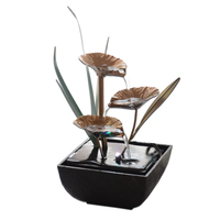 LIXF Decorative Indoor Water Fountains Lotus Fountain Resin Crafts Gifts Feng Shui Wheel Desktop Water Fountain for Home Office
