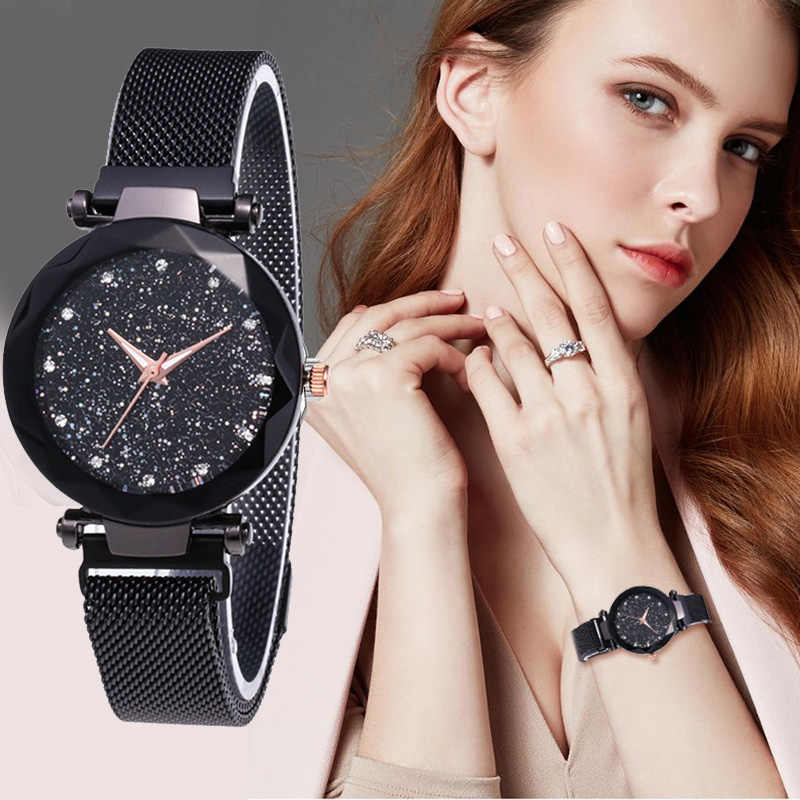 แฟชั่นผู้หญิงนาฬิกาควอตซ์หญิงนาฬิกา Luxury Star Sky นาฬิกาสุภาพสตรีแม่เหล็กหินมิลานตาข่ายเข็มขัดนาฬิกานาฬิกาข้อมือของขวัญ