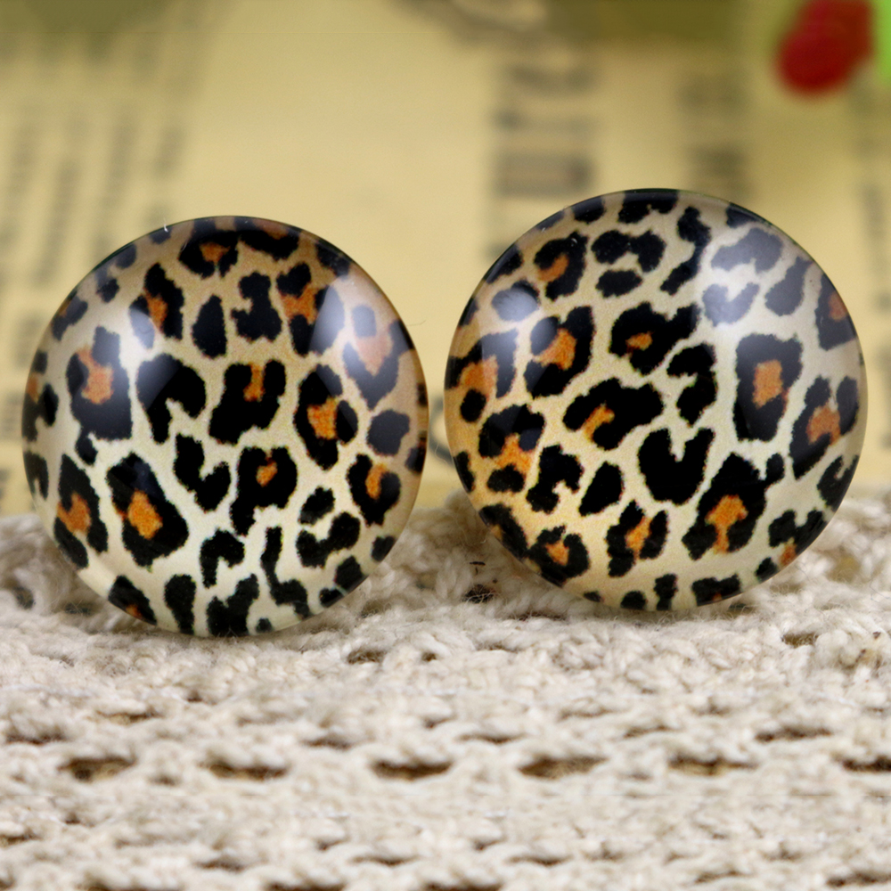 Hot Sale 10pcs 20mm Handmade Leopard Photo Glass Cabochons Pattern Domed Jewelry Accessories Supplies-H3-31
