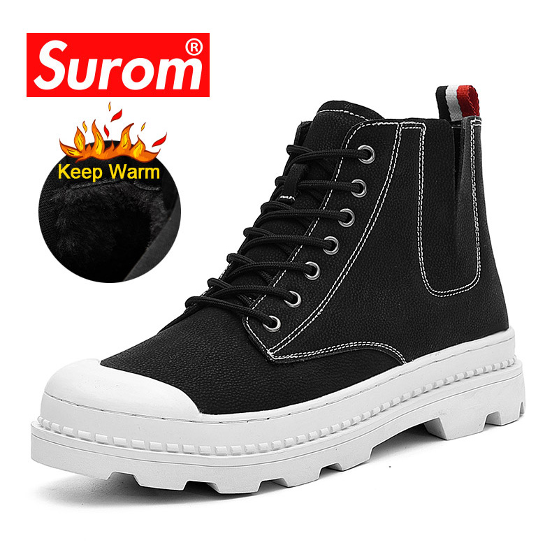 SUROM 2019 Winter Fashion Boots Men Outdoor Warm Work Safety Ankle Boot Thick Rubber Non-slip Winter Male Leather Casual Shoes