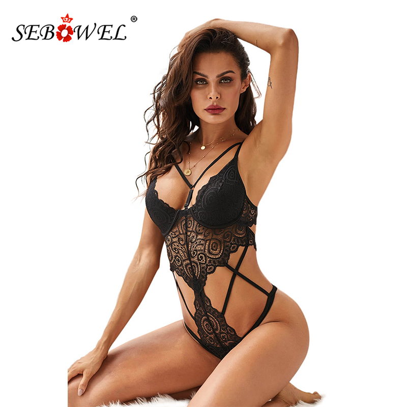 SEBOWEL Women Lace Bodysuits Sexy Hollow Out V-Neck Black Bodysuit Push Up Cups Female Jumpsuit Clubwear Clothing New Body Tops
