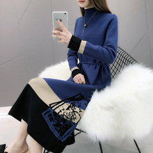 New Knit Sweater Dress Women Autumn and winter 2019 Casual O-Neck Pullover Lace Up Loose Long Sweater Dress army green lace up knit long raglan sleeves sweater