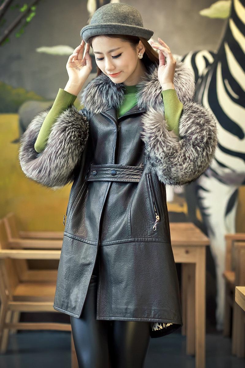 [TVVOVVIN] 2019 automne et hiver nouveaux produits mode manches chauve souris renard fourrure col en peau de mouton en cuir imitation fourrure manteau B145 - 3