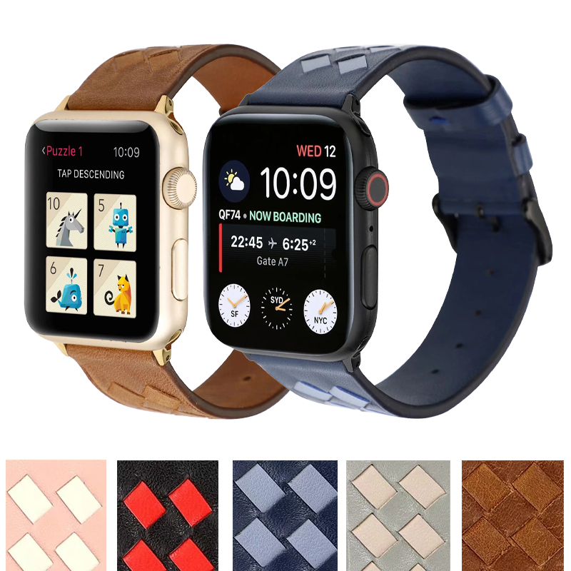New Leather rhombus Band for Apple Watch  38mm 40mm 42mm 44mm Strap Bracelet for iWatch Series 5 4 3 2 1 Watchband Accessories