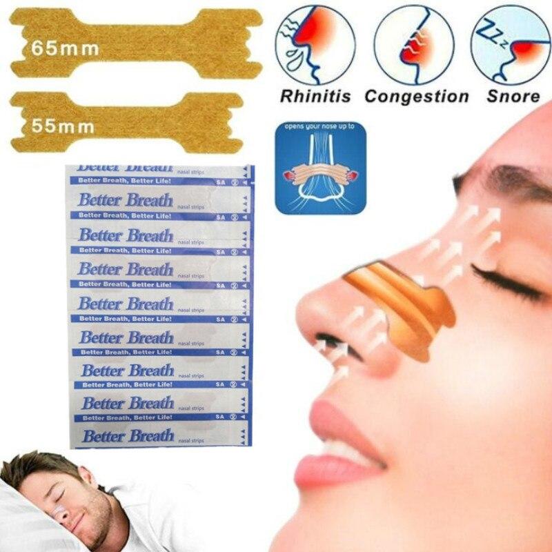 Лидер продаж, 50 штук, облегчающие дыхание, 55*16 мм, лучше дышащие носовые полоски для предотвращения храпа
