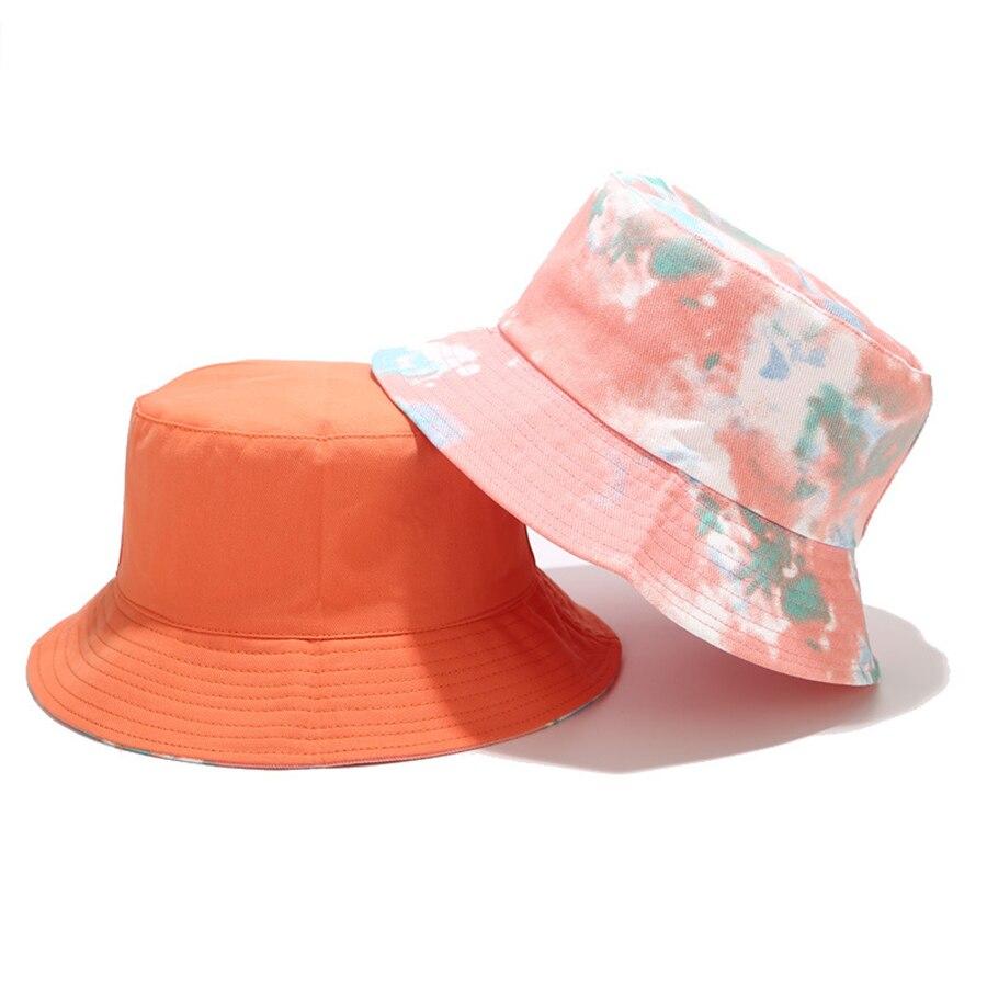 Brand New Tie-dye Bucket Hat Men Women Fashion Double-sided Wearing Basin Bucket Hats Female Summer Outdoor Leisure Sun Cap