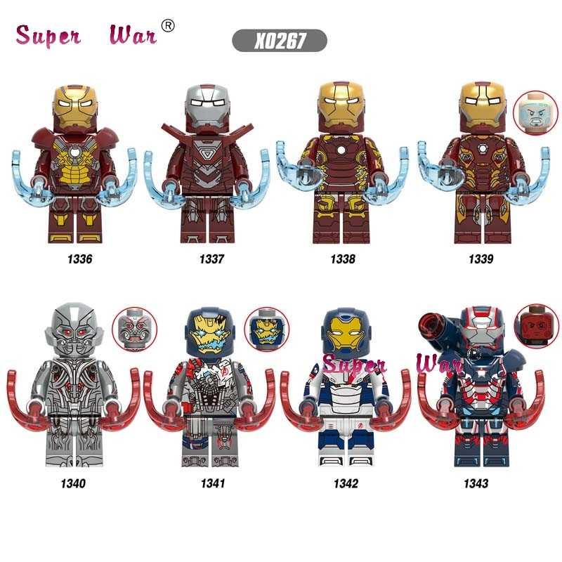 เดี่ยว Avengers Endgame Iron Man IRONMAN พยุหเสนา Ultron Mark17 Mark33 Mark43 Mark45 สงครามเครื่องพริกไทยอาคารบล็อกของเล่นเด็ก