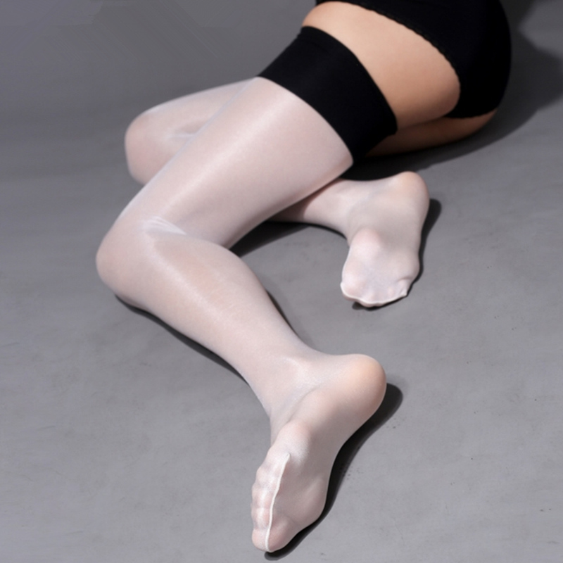Retro Oil Shine Thigh High Stockings 30D Patchwork Nylon Stockings Multi Colors Elastic Pantyhose Female Erotic Lingerie Medias