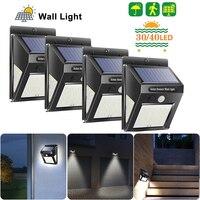 30/40 LED 야외 태양 빛 PIR 모션 센서 4pcs 태양 벽 램프 방수 에너지 절약 비상 정원 마당 조명