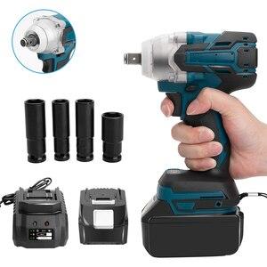 Makita 배터리 DTW285Z + 소켓 세트 + 1500mAh 배터리 용 18V 전기 충전식 브러시리스 임팩트 렌치 무선 소켓 렌치