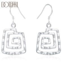 DOTEFFIL 925 ayar gümüş geometrik Spiral desen küpe kadınlar için düğün nişan parti moda Charm takı