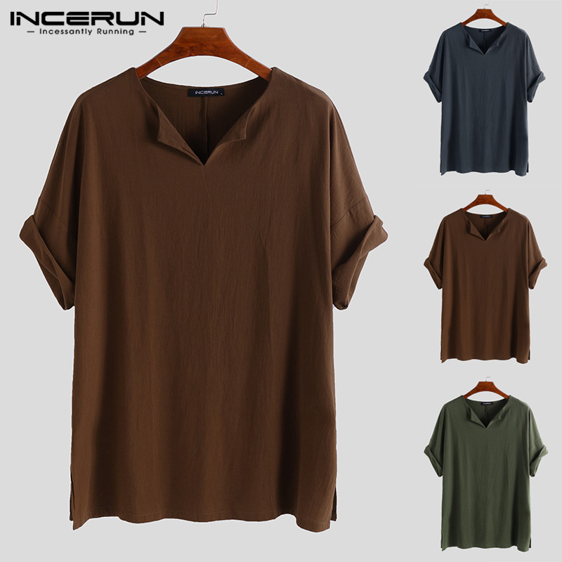 INCERUN Men Shirt Tops Cosplay  Cotton Short Sleeve Retro Shirts Solid Color Tops 2019 Men